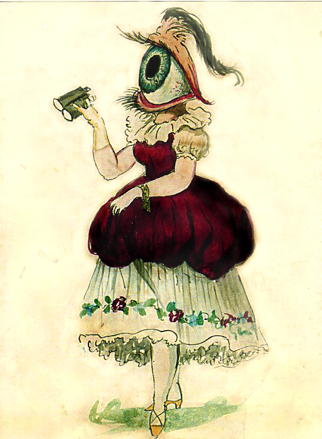 """Female Eye,"" costume design, Krewe of Comus, New Orleans Mardi Gras, 1869, by artist in employ of Mistick Krewe of Comus [Public domain], via Wikimedia Commons"