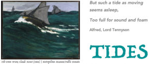 A ship floats over a relatively large green wave in an impressionistic painting by Claude Monet, while a poem about tides by Tennyson appears beside the painting.